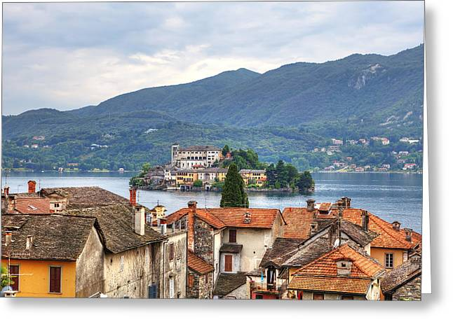 Piedmont Greeting Cards - Orta - overlooking the island of San Giulio Greeting Card by Joana Kruse