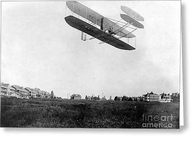 Famous Aviators Greeting Cards - Orville Wright In Wright Flyer, 1908 Greeting Card by Photo Researchers