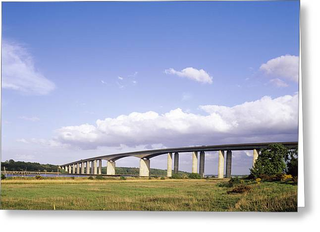 1980s Greeting Cards - Orwell Bridge Greeting Card by Carlos Dominguez