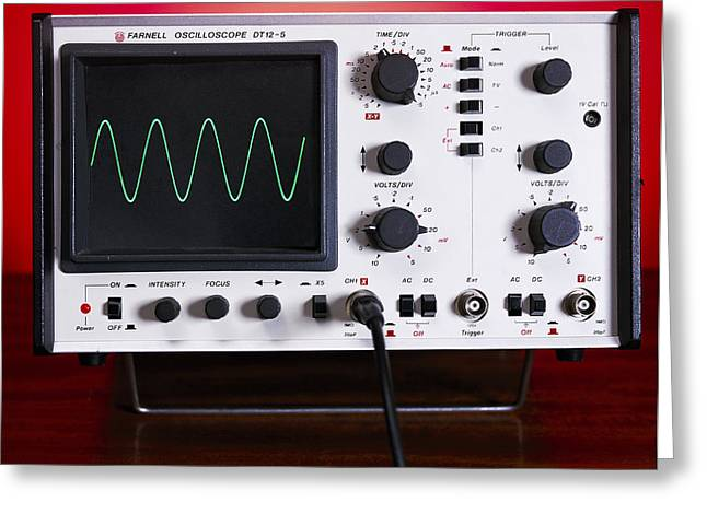Sine Greeting Cards - Oscilloscope Wave Form Greeting Card by Andrew Lambert Photography