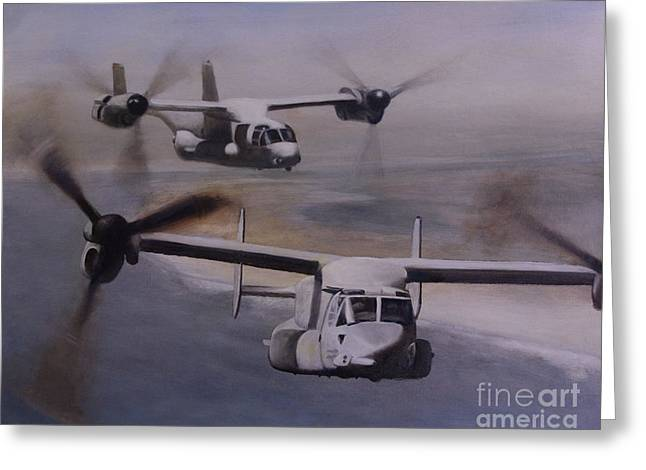 Aircraft Artwork Greeting Cards - Ospreys Over the New River Inlet Greeting Card by Stephen Roberson