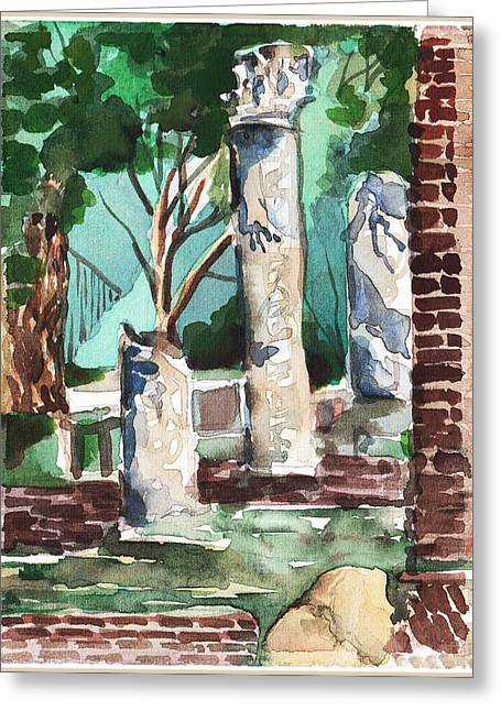 Ancient Ruins Drawings Greeting Cards - Ostia Antica Greeting Card by Mindy Newman