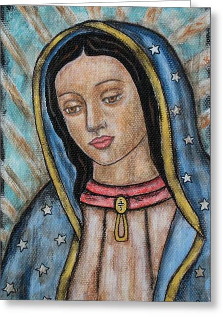 Virgen De Guadalupe Art Greeting Cards - Our Lady of Guadalupe Greeting Card by Rain Ririn