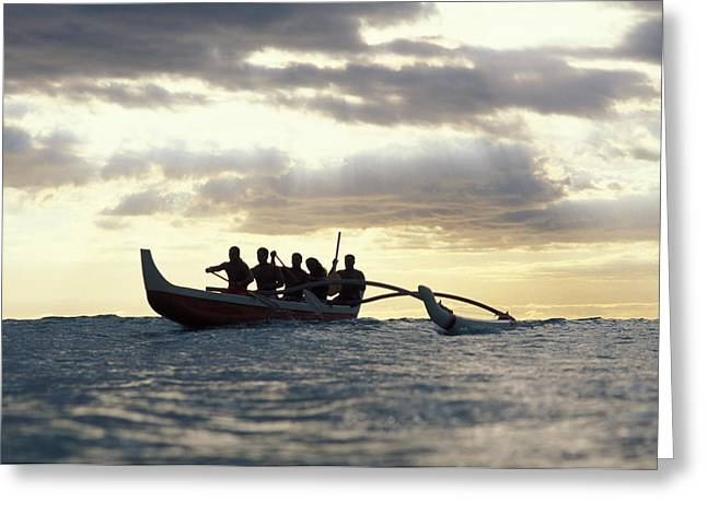 Vince Greeting Cards - Outrigger Canoe Greeting Card by Vince Cavataio - Printscapes