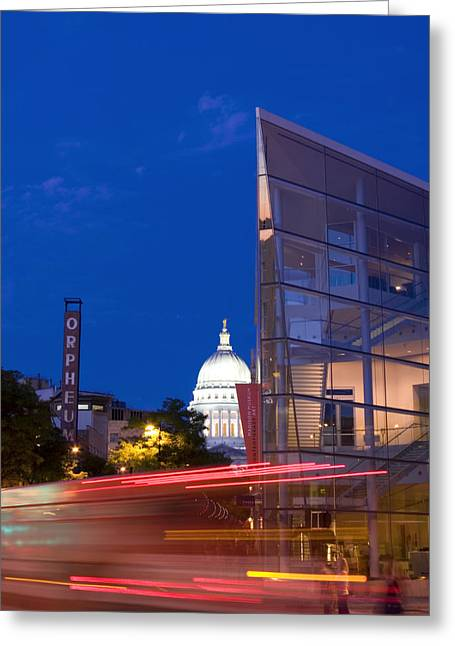 Overture Greeting Cards - Overture Center on State Street in Madison Wisconsin Greeting Card by Michael Dykstra
