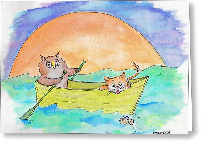 Nursery Rhyme Drawings Greeting Cards - Owl and Pussycat Greeting Card by Marybeth Friel-Patton
