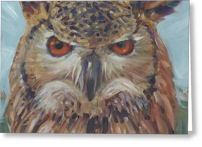 Nocturnal Paintings Greeting Cards - Owl Greeting Card by Donald Maier