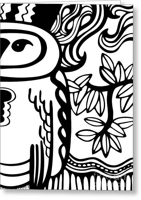 Tree Lines Drawings Greeting Cards - Owl Greeting Card by HD Connelly