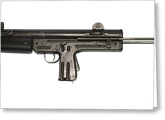 Copy Machine Greeting Cards - Pa3-dm Argentine 9mm Submachine Gun Greeting Card by Andrew Chittock