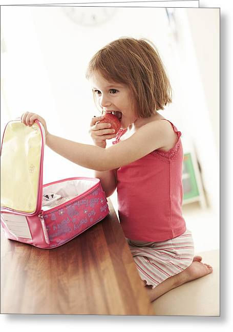Kid Eating Snack Greeting Cards - Packed Lunch Greeting Card by Ian Boddy
