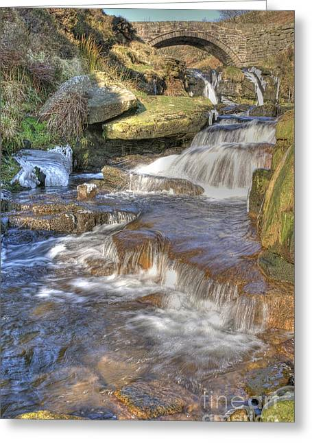 Packhorse Greeting Cards - Packhorse Bridge at Three Shires Head Greeting Card by David Birchall