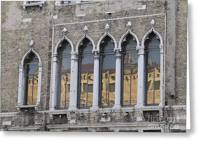Facades Photographs Greeting Cards - Palace. Venice Greeting Card by Bernard Jaubert