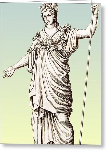 Colorization Greeting Cards - Pallas, Greek Goddess Greeting Card by Photo Researchers
