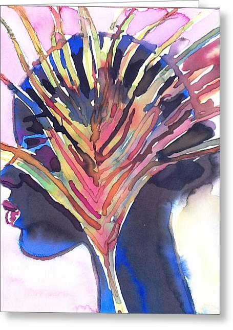 African-american Drawings Greeting Cards - Palm And Profile Greeting Card by Richard Vyse