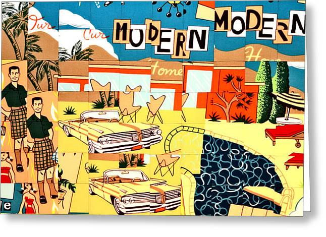Lifestyle Tapestries - Textiles Greeting Cards - Palm Springs Modern Greeting Card by Bob Hoffmann