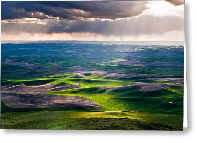 Burst Greeting Cards - Palouse Hills Greeting Card by Niels Nielsen