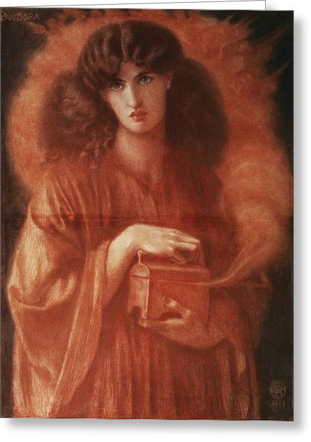 Clutch Greeting Cards - Pandora Greeting Card by Dante Charles Gabriel Rossetti