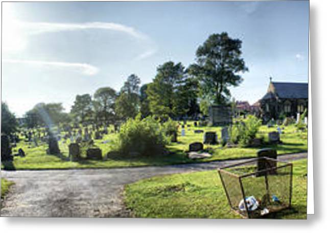 Black Top Greeting Cards - Panoramic Cemetery II Sepia Greeting Card by Maria Tzamtzi