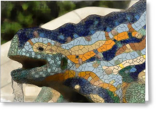 Ceramic Sculpture Greeting Cards - Parc Guell in Barcelona Spain Greeting Card by Brandon Bourdages