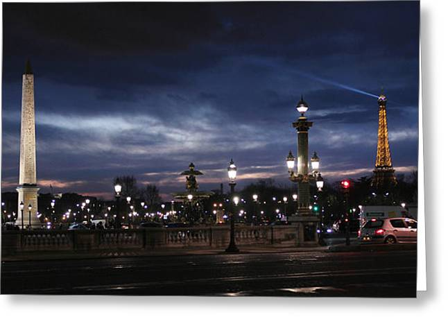 Concord Greeting Cards - Paris at night Greeting Card by Isabel Poulin
