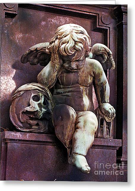 Paris Cemetery - Pere La Chaise - Cherub And Skull Greeting Card by Kathy Fornal