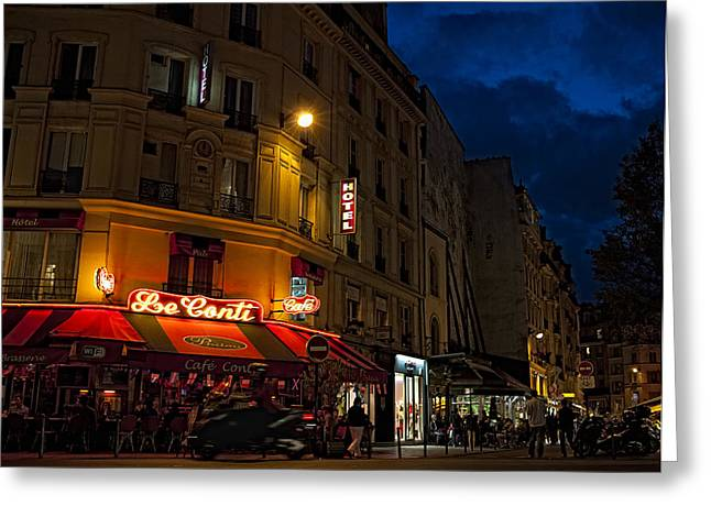 Night Cafe Greeting Cards - Paris in the Night Greeting Card by Laria Saunders