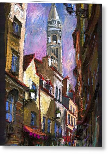 Europe Pastels Greeting Cards - Paris Montmartre  Greeting Card by Yuriy  Shevchuk