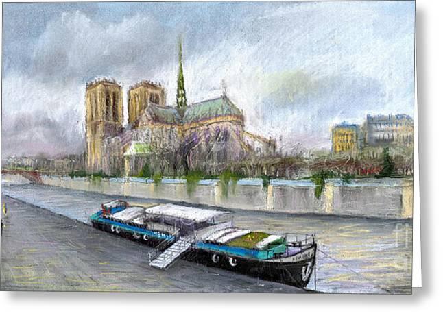 Old Street Pastels Greeting Cards - Paris Notre-Dame de Paris Greeting Card by Yuriy  Shevchuk