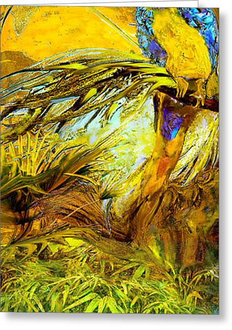 Wild Bird Mixed Media Greeting Cards - Parrot Greeting Card by Anne Weirich