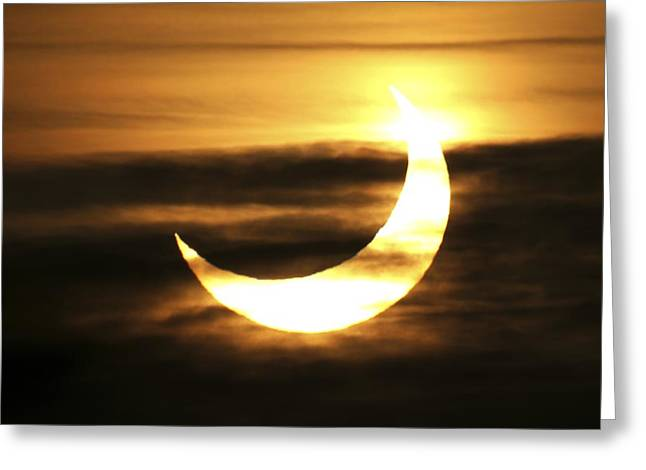 Solar Eclipse Greeting Cards - Partial Solar Eclipse, January 2011 Greeting Card by Detlev Van Ravenswaay