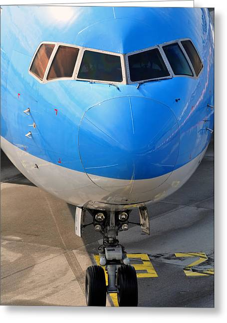 Passenger Airplanes Greeting Cards - Passenger airplane. Greeting Card by Fernando Barozza
