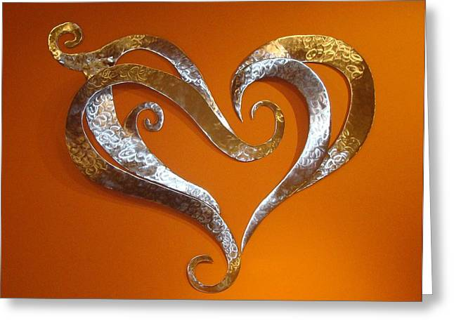 Stainless Sculptures Greeting Cards - Passion Hearts Greeting Card by Diane Snider