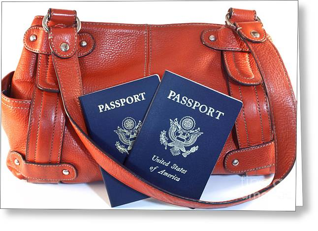 Leather Straps Greeting Cards - Passports with orange purse Greeting Card by Blink Images