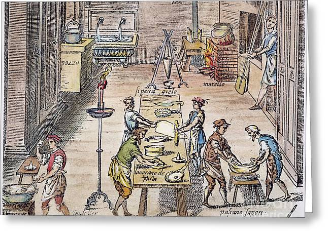 Italian Kitchen Greeting Cards - PASTA MAKING, 16th CENTURY Greeting Card by Granger