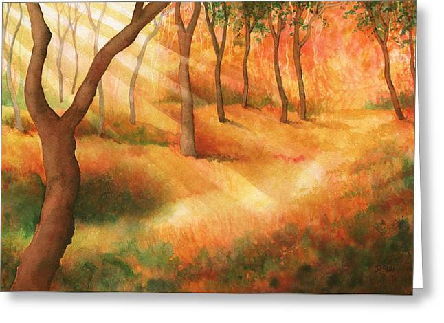 Forest Floor Paintings Greeting Cards - Path of Light Greeting Card by Greg Dolan