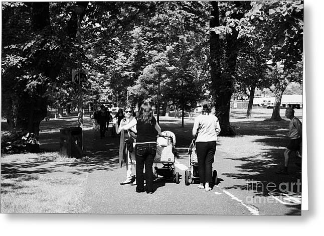 People. Talking Greeting Cards - Pathway Through The Meadows Public Park To The Centre Of Edinburgh Greeting Card by Joe Fox