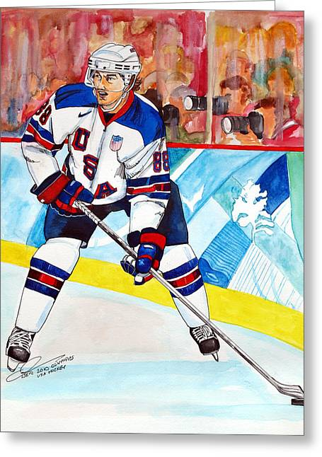 Olympics Drawings Greeting Cards - Patrick Kane  Greeting Card by Dave Olsen