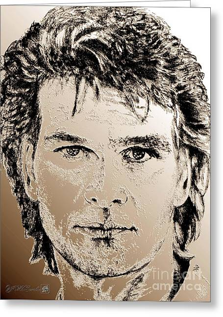 Jem Fine Arts Mixed Media Greeting Cards - Patrick Swayze in 1989 Greeting Card by J McCombie