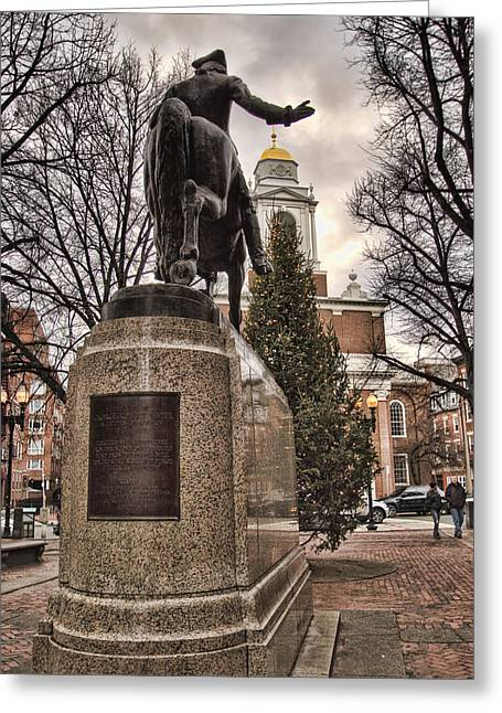 Historic Statue Greeting Cards - Paul Revere-Statue Greeting Card by Joann Vitali