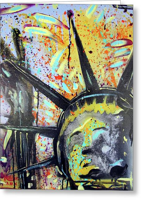 Statue Of Liberty Mixed Media Greeting Cards - Peace and Liberty Greeting Card by Robert Wolverton Jr