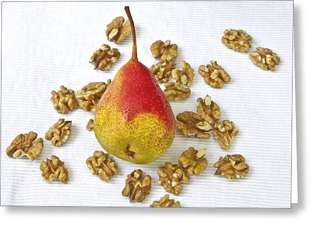Pears Photographs Greeting Cards - Pear with walnuts Greeting Card by Joana Kruse