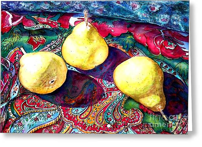 Paisley Blue Fabric Greeting Cards - Pears and Paisley Greeting Card by Norma Boeckler