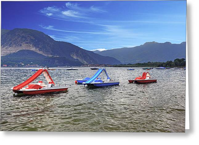 Pedal Greeting Cards - Pedal boats on Lake Maggiore Greeting Card by Joana Kruse