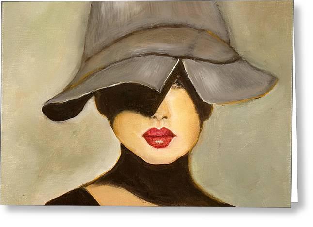 Clever Paintings Greeting Cards - Peekaboo Hat Greeting Card by Pati Pelz