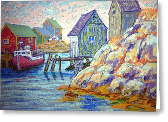 Sheds Pastels Greeting Cards - Peggys Cove Greeting Card by Rae  Smith PSC