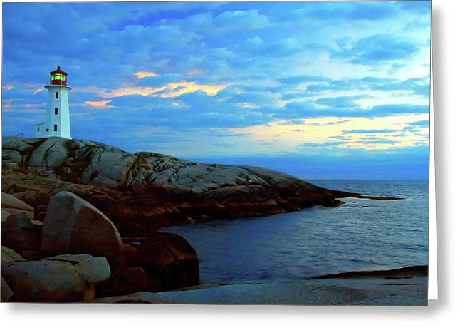 Nova-scotia Greeting Cards - Peggys Point Lighthouse Greeting Card by Rick Berk