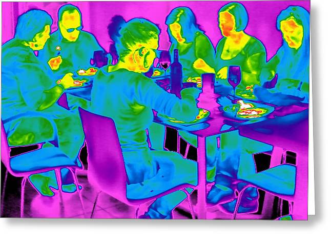 Coloured Glass Greeting Cards - People Sitting At A Table, Thermogram Greeting Card by Tony Mcconnell