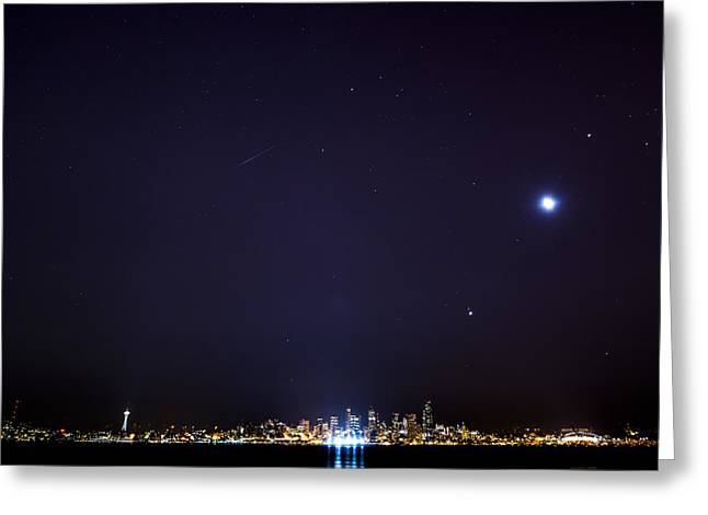 Perseid Meteor in Seattle Greeting Card by Yoshiki Nakamura