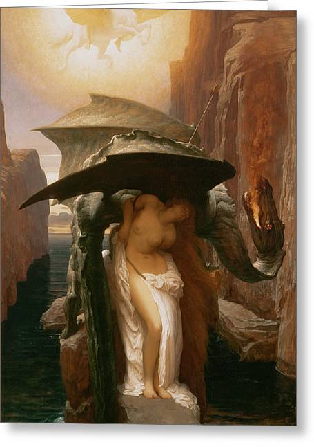 Andromeda Greeting Cards - Perseus and Andromeda Greeting Card by Frederic Leighton