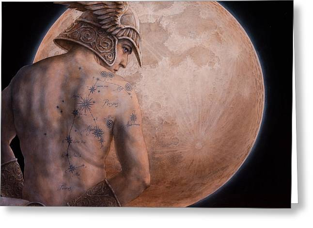 Luna Mixed Media Greeting Cards - Perseus Greeting Card by Jose Luis Munoz Luque